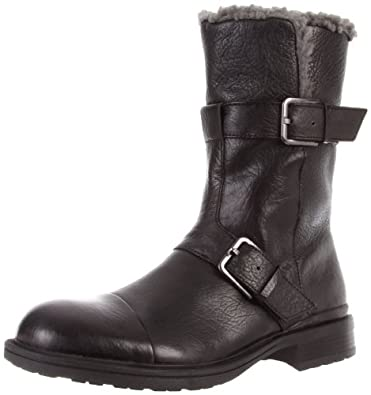 Calvin Klein Men's Gian Double Buckle Boot, Black, 8.5 M US