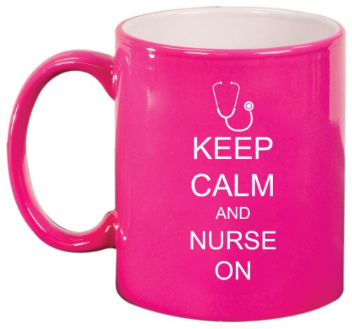 Keep Calm And Nurse On Stethoscope Ceramic Coffee Tea Mug Cup Hot Pink