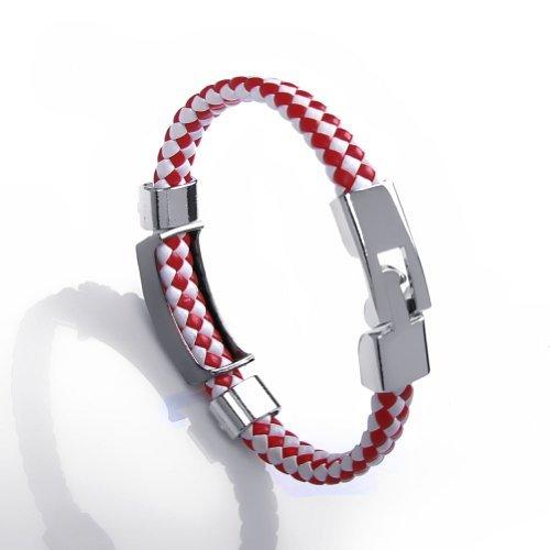 JewelryWe Popular Handmade Braided 10mm Flat Leather Cord Bracelet Unisex Buckle Jewelry Bangle