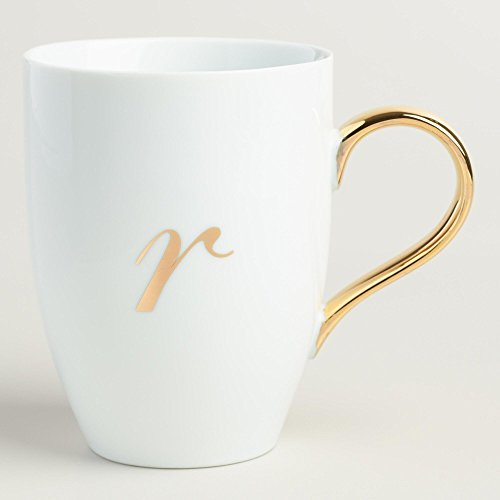 Gold Monogram White Porcelain Coffee Mug Tea Cup Letter R (R Coffee Mug compare prices)