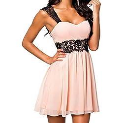 EOZY Disfraz Falda Vestido Para Mujer Corto De Cóctel Fiesta Costura Encaje Rosa Talla M