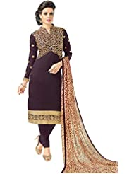 The Fashion World Purple Color Embroidery Worked Dress Materials With Printed Dupatta