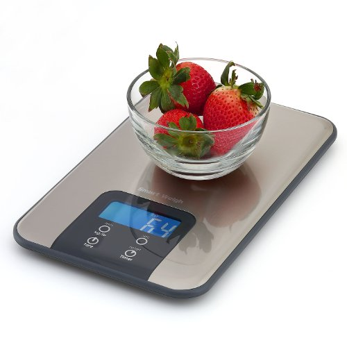 Smart Weigh Digital Kitchen Scale and Timer – Food Scale – Slim Stainless Steel Design – High Accuracy – LCD Backlight