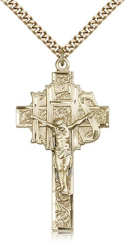 Gold Filled Crucifix Medal Pendant 1 7/8 x 1