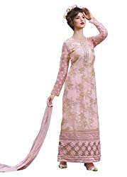 Namrah Collection Women's Georgette Embroidered (4449, Pink)