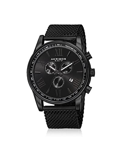 Akribos XXIV Men's AK813BK Multifunction Black Mesh Watch