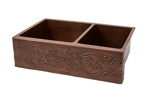 33 in. Hammered Copper Kitchen Apron 60/40 Double Basin Sink