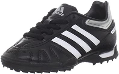 adidas Puntero VII TRX TF Soccer Cleat (Toddler/Little Kid/Big Kid),Black/Running White/Metallic Silver,6 M US Big Kid