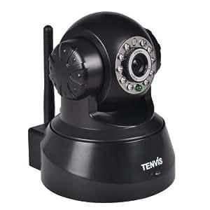 Caméra IP de surveillance Tenvis JPT3815W - Caméra IP infrarouge motorisée de sécurité wifi sans fil d?intérieur à capteur CMOS 1/4 300 000 Pixels - Caméra IP Pan & Tilt à vision nocture - Visualisation sur ordinateur smartphone et tablette n'importe où et n'importe quand ?Détection de mouvement - Audio bidirectionnel - DDNS gratuit