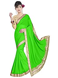 Sonani Women's Georgette Disigner Paety Wear Sarees with Blouse Piece (green56565)