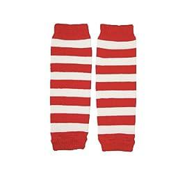 juDanzy Newborn Baby Leg Warmers (Newborn-15 Pounds)(Red & white stripe)