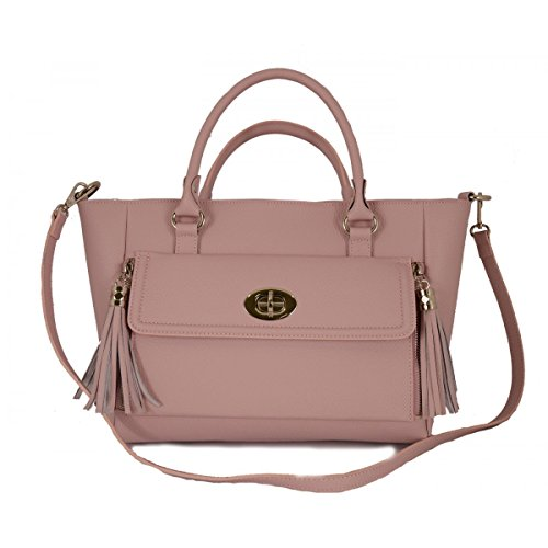 Borsa Donna In Vera Pelle Con Tracolla Rimovibile Colore Rosa - Pelletteria Toscana Made In Italy - Borsa Donna