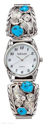 Sterling Silver Men'S Turquoise Nugget Watch