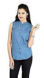 Franclo Women's Denim Shirt (Light Blue, Small)