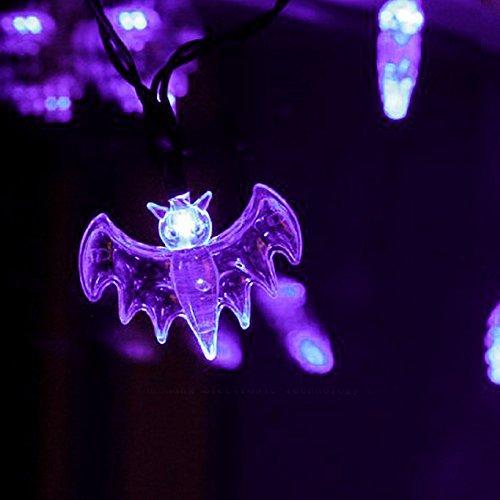 KI Store Bat String Lights for Halloween Decor Battery powered Set of 20 (Purple)