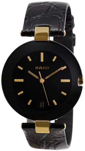 Rado Men's R22828155 Coupole Black Leather Bracelet Watch