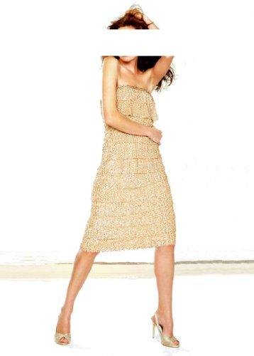 APART Damen-Kleid Pailletten-Volant-Abendkleid Gold Größe 38