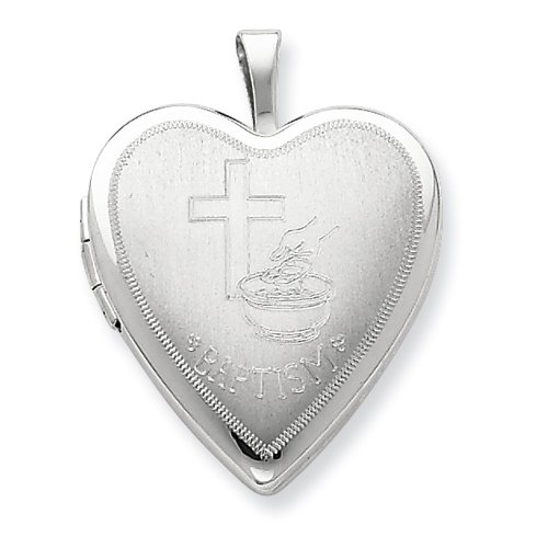 Sterling Silver 20mm Baptism Heart Locket