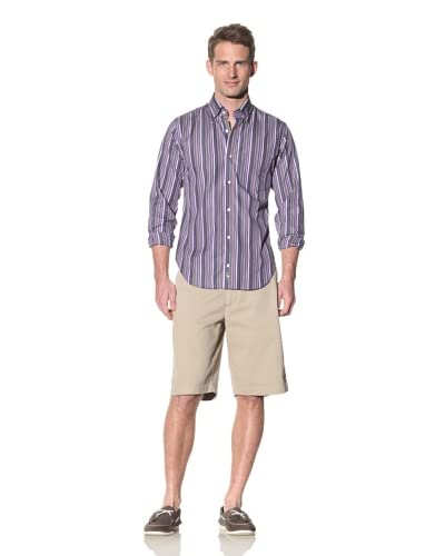 TailorByrd Men's Mini Check Line Detail Spread Collar Sportshirt