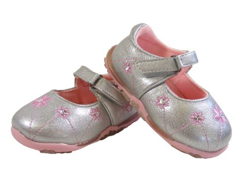 New Baby Girls Kids Silver Pink Velcro Flats Shoes Party Wedding Shoe Size s 6 7