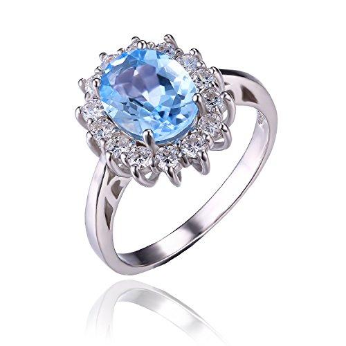 Jewelrypalace 2.4ct 天然石 本物 トパーズ 11月 誕生石 Kate Middleton(ケイトミドルトン)Diana(ダイアナ) プリンセス デザイン 925 スターリングシルバー 婚約指輪 結婚式 リング サイズ 14号