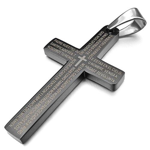 MunkiMix Edelstahl Anhänger Halskette Schwarz Kreuz Bibel Lords Prayer Poliert Herren ,mit 58cm Kette