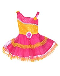 D.S. Fashion Baby Girls Frock (Red & Yellow, 18)