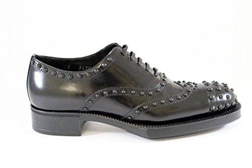Prada scarpa in stile inglese, pelle spazzolata con borchie F/W 2015 EU 40
