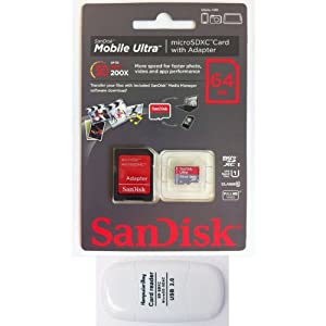 SanDisk 64GB Mobile Ultra MicroSDXC Class 10 UHS-1 30MB/s Memory Card with SD Adapter (NEW VERSION) - Retail Packaging with Komputerbay SDXC USB Reader
