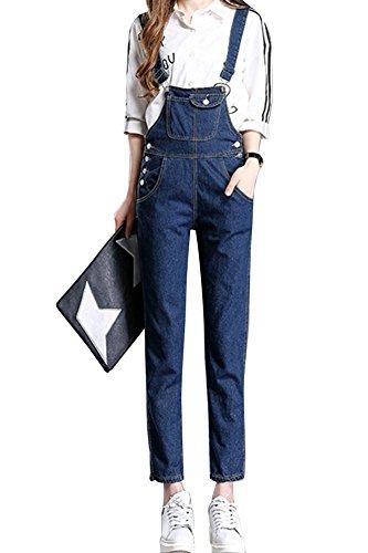 LaoZan Jeans Da Donna, Casuale Tuta Bibs, Pantaloni, Cinghie Regolabili Blu Marino XL