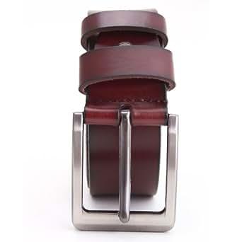 Ceinture homme en cuir vrai boucle ardillon jean costume belt tour taille 95-130cm noir/brun (115-130cm, Boucle #1 brun)