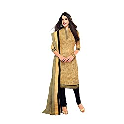 Angle Shop Women's Cotton Printed Dress Material (Khakhi_Unstitched)