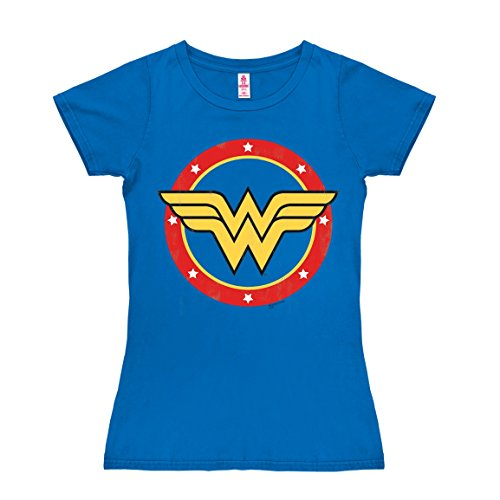 T-shirt donna Wonder Woman - Logo - Cerchio - DC Comics - Wonder Woman - Logo - Circle - L'eroina - nel colore - azzurro - design originale concesso su licenza - LOGOSHIRT, taglia M