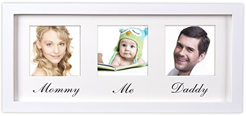Mommy Daddy Me Frame, White - Solid Wooden Wall Hanging Picture frame - Fits Standard 4x6