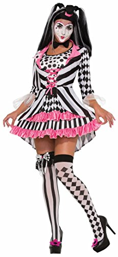 Harlequin Ring Mistress Clown Black White Pink Lady Adult Halloween Costume (Lady Clown Costume)