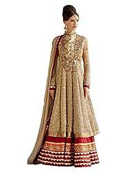 Divyaemporio Women'S Beige Faux Georgette Salwar Suits Dress Material