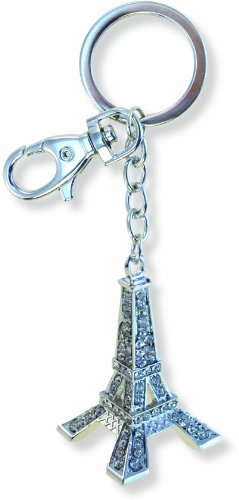 Puzzled Eiffel Tower Sparkling Charm Keychain