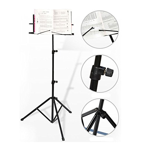 Music Stand Holder Shelf Folding Fold 3 Section with Carry Bag Black (Peak Music Stand For Ipad compare prices)