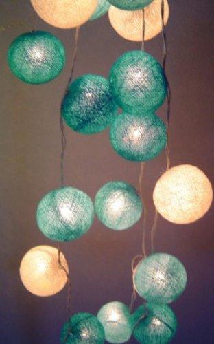 New Solar Powered Led Blue Moons Shades Cotton Ball Lantern Fairy Light String