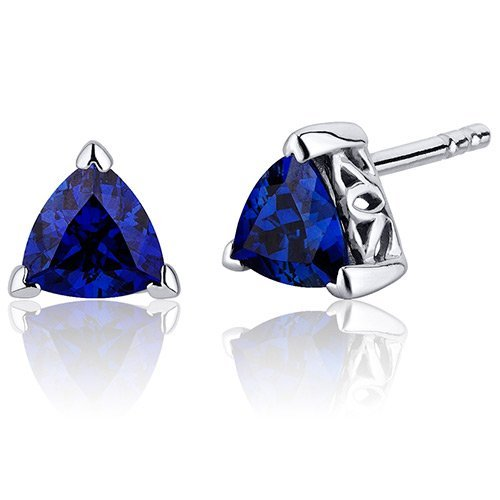 Peora 2.00 Carats Blue Sapphire Trillion Cut V Prong Stud Earrings in Sterling Silver Rhodium Finish