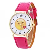 BCDshop Quartz Movement Watches Unisex Cute Funny Emoji Expression Leather Quartz Wrist Watch Fashion Gift (Hot Pink, Metal)