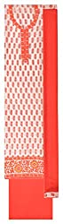 Gaurangi Fabrics Women's Cotton Unstitched Dress Material (Red and Off-White)
