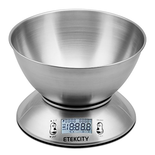 Etekcity 11lb 5kg Digital Multifunction Food Kitchen Scale with Removable Bowl 2.15l Liquid Volume Room Temperature and Timer, Backlight LCD Display (Metal Pouring Container compare prices)