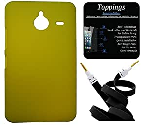 Toppings Hard Case Cover With Aux Cable & Tempered Glass For Microsoft Lumia 640 XL - Yellow
