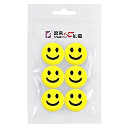 Fangcan Silicone Vibration Dampeners for Tennis Squash Racket Pack of 6 (Yellow smiley)