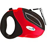 Retractable Dog Leash Red 100% Tangle Free. Can Extend up to 16 Ft. Made With Heavy Duty Nylon Ribbon & Works Great for Medium & Large Dogs! 1 Year Replacement Guarantee!