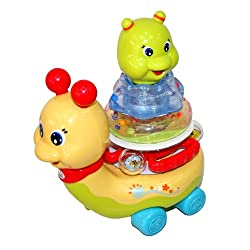 Stacking Snail Car Toy With Flashing Light For Gift For Infants