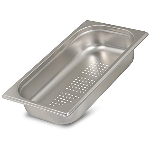 Greyfish GN-Behälter :: gelocht :: für Gaggenau / Miele / Siemens Dampfgarer (Edelstahl / Spülmaschine geeignet, Gastronorm 1/3, B 32,5 x T 17,6 x H 6,5 cm)