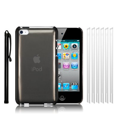 APPLE IPOD TOUCH 4TH GENERATION SUPER SLIM FIT CRYSTAL BACK COVER CASE - SMOKE BLACK, WITH 6 SCREEN PROTECTORS & 1 STYLUS