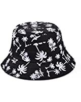 soyagift zipper graffiti flat bucket hat with coconut tree pattern outdoor hatsun hat